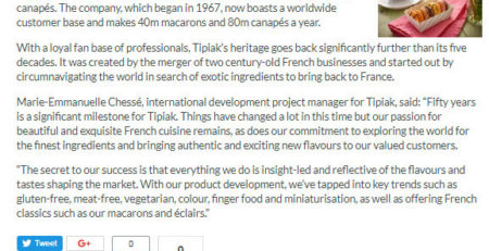 Canapes Supplier - Tipiak Foodservice - Tipiak Celebrates 50th Birthday
